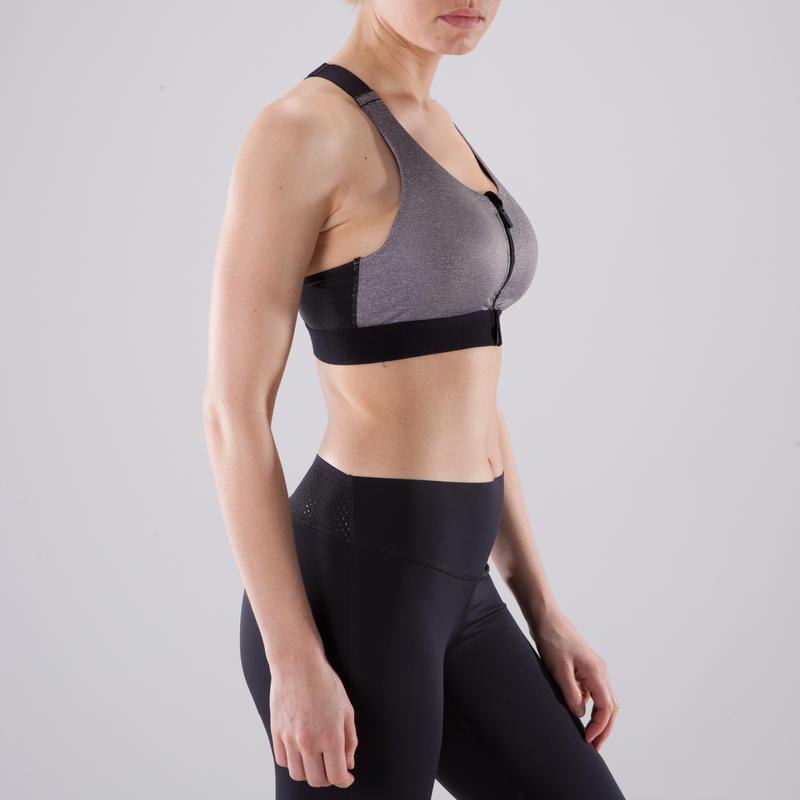 900 Women's Zip-Up Cardio Fitness Sports Bra - Mottled Grey