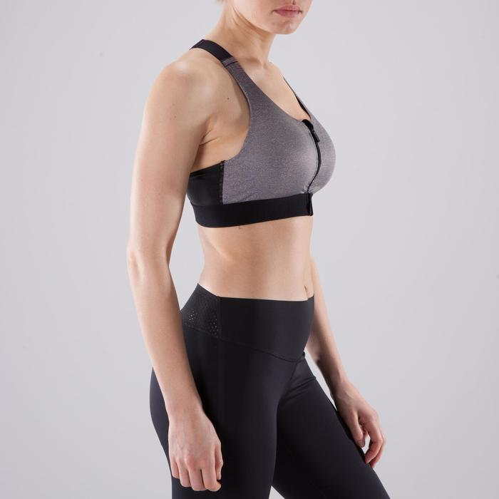 Brassière Zip cardio fitness femme gris chinée 900