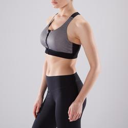 Sujetador-top cremallera cardio fitness mujer gris jaspeado 900