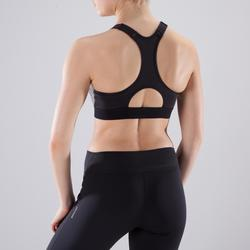 Sport-Bustier Zip 900 Cardio-/Fitnesstraining Damen graumeliert