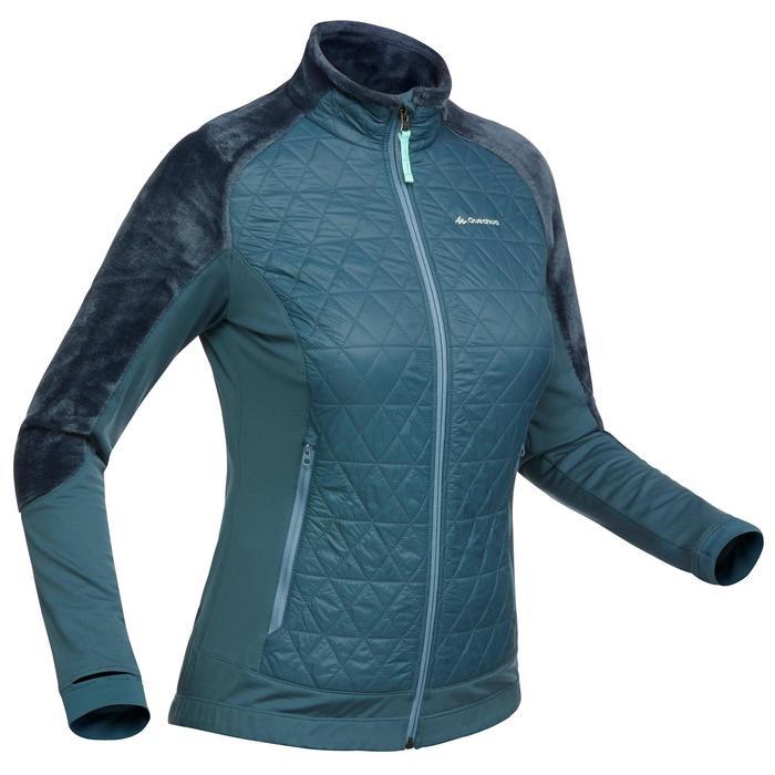 Hybride fleece damesjas voor wandelen in de sneeuw SH900 X-warm China blue