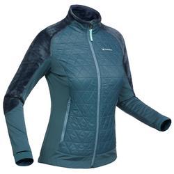 女款雪地健行混合刷毛外套SH900 X-Warm-湛藍色。