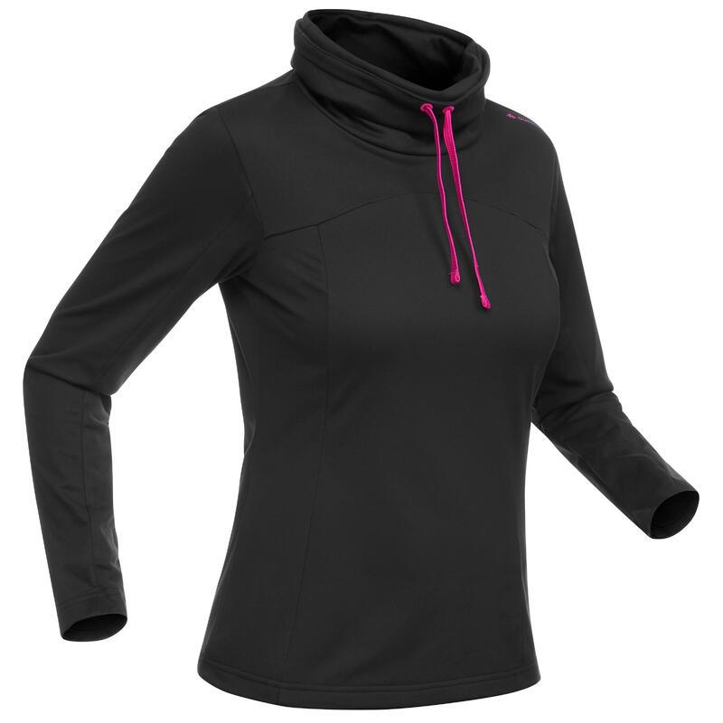 Warm wandelshirt met lange mouwen voor dames SH100 WARM zwart