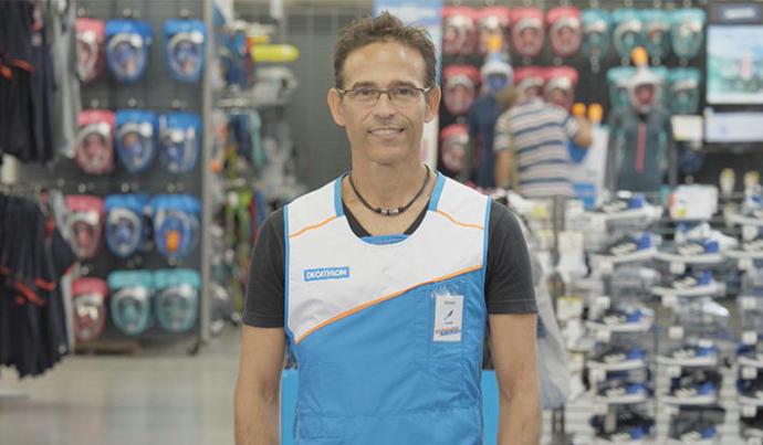 Alfredo, vendedor mergulho na Decathlon de Perpignan