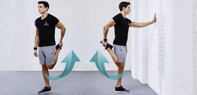 étirement du quadriceps en position debout
