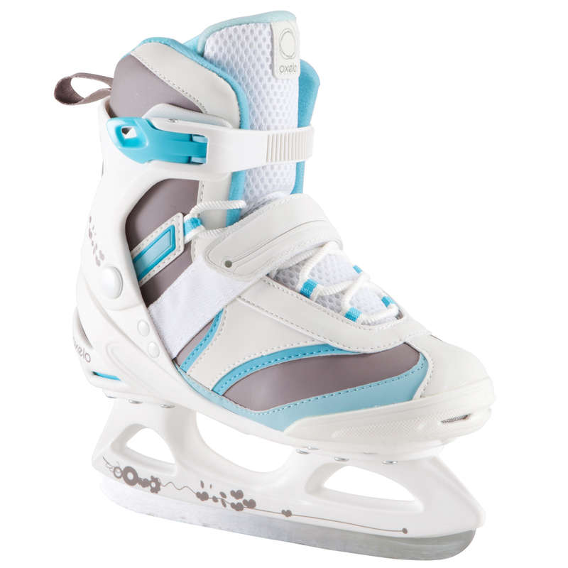 ADULT FITNESS ICE SKATES Ice Skating - FIT 3 Ice Skates - White/Blue OXELO - Ice Skating