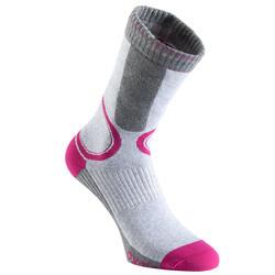 Fit 女性直排輪運動襪 - 灰色/紫紅