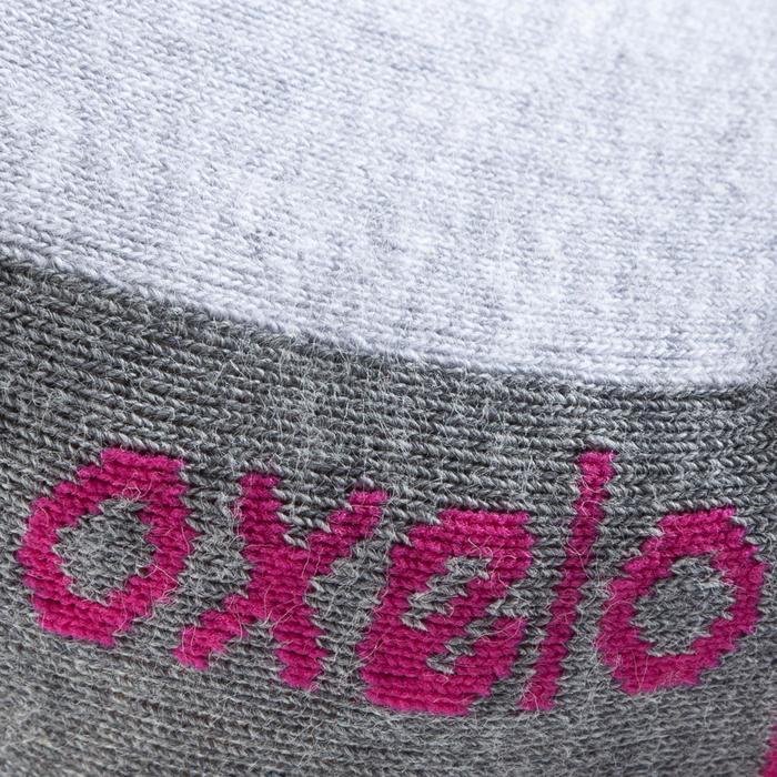 女款直排輪運動襪Fit - 灰色/紫紅色