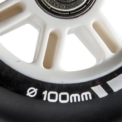 """1 גלגל קורקינט 100 מ""""מ כולל מסבים - שחור"""