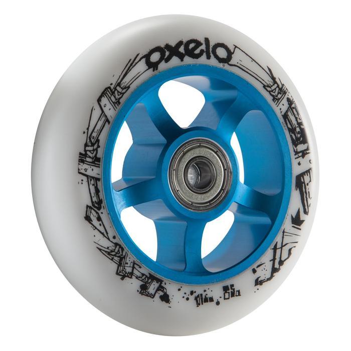 1 rueda de patinete azul PU blanco 100 mm