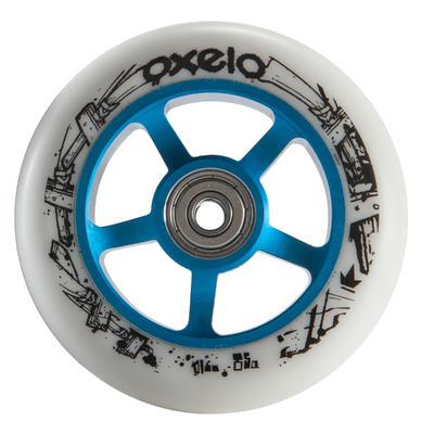 """1 גלגל גומי PU בקוטר 100 מ""""מ לקורקינט - כחול/לבן"""