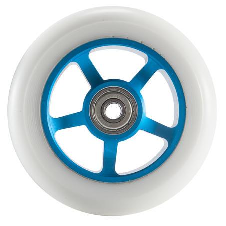 1 roue de trottinette bleue PU blanc 100 mm