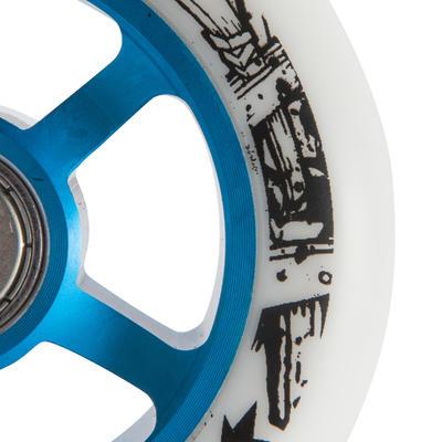 1 גלגל גומי PU בקוטר 100 מ_QUOTE_מ לקורקינט - כחול/לבן