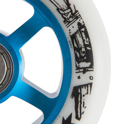 1 x 100 mm PU Scooter Wheel - Blue/White