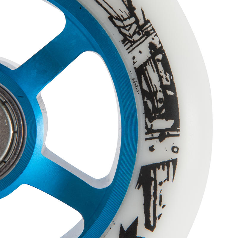 100mm Blue Alu Core White PU Freestyle Scooter Wheel