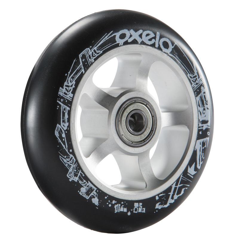100mm Grey Alu Core Black PU Freestyle Scooter Wheel