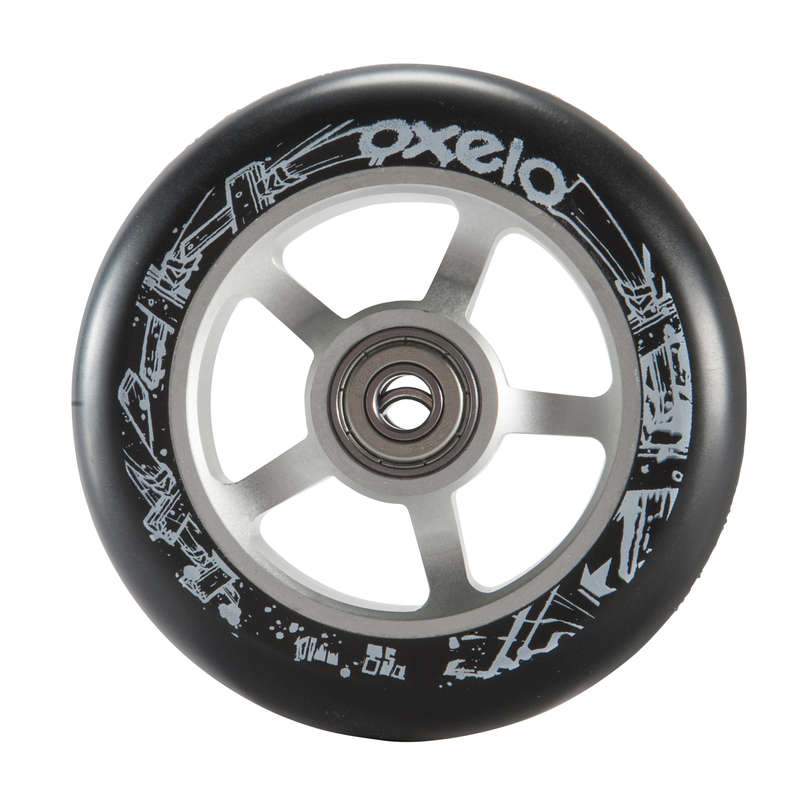 FREESTYLE SCOOTERS SPARE PARTS Scootering - Grey Alu Black PU Wheel 100mm OXELO - Scootering