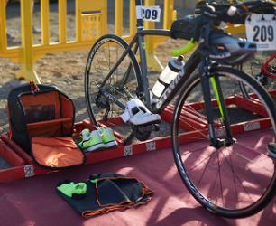 Eerste triatlon voorbereiding wisselzone