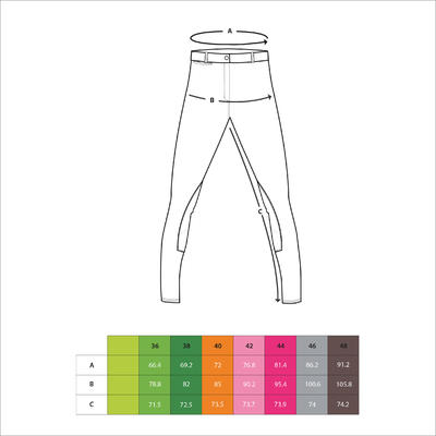 BR100 Women's Horse Riding Jodhpurs - Black