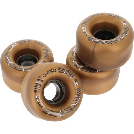 4 wielen voor Oxelo rolschaatsen voor volwassenen, 62 mm/82A brons - 145685