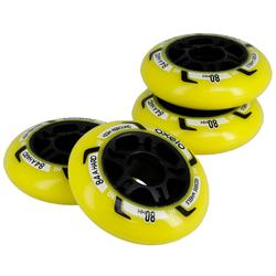 Fit Fitness Inline Skating 80mm 84A Wheels 4-Pack - Yellow