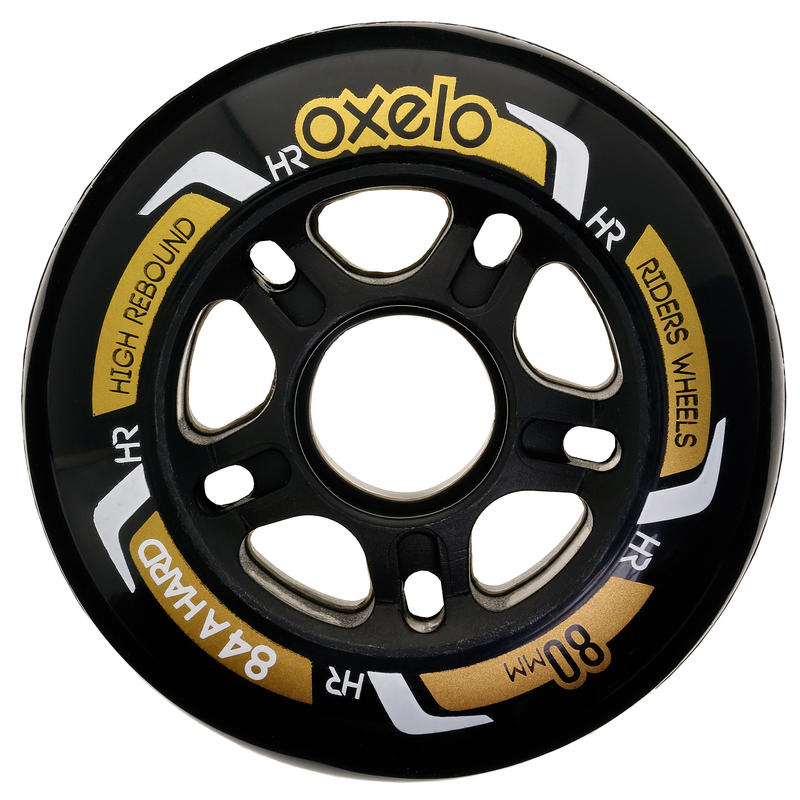 Fit Fitness Inline Skate 80mm 84A Wheels 4-Pack - Black