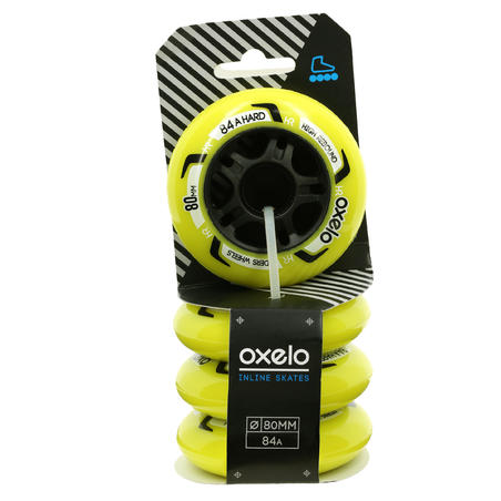 Fit Fitness Inline Skating 80 mm 84A Wheels 4-Pack - Yellow