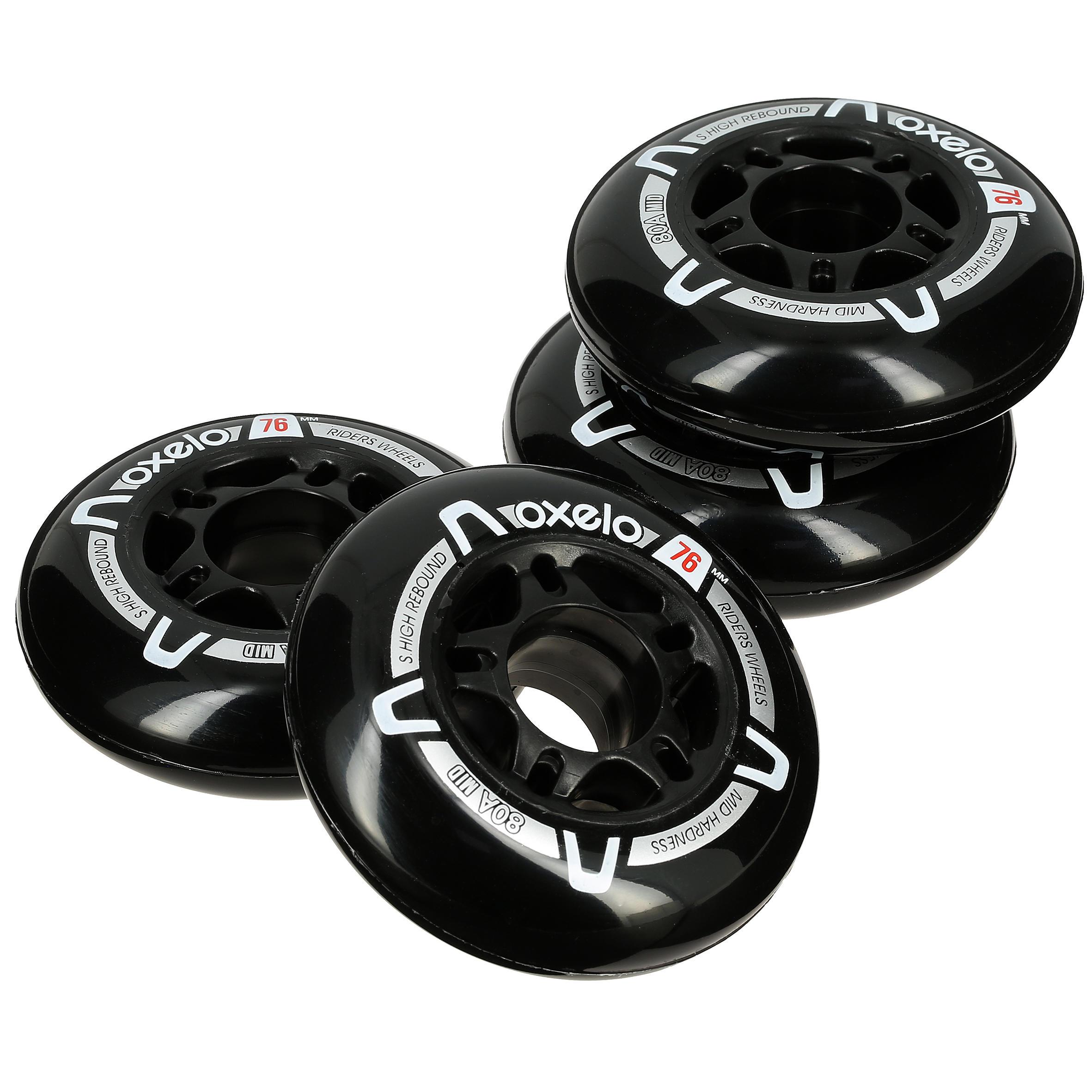 """4 roues patins à roues alignées Fitness adulte FIT 3"""" 80A noires"""
