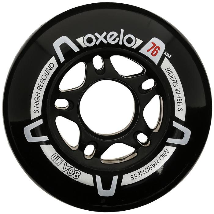 4 roues roller fitness adulte FIT 76mm 80A noires - 14637