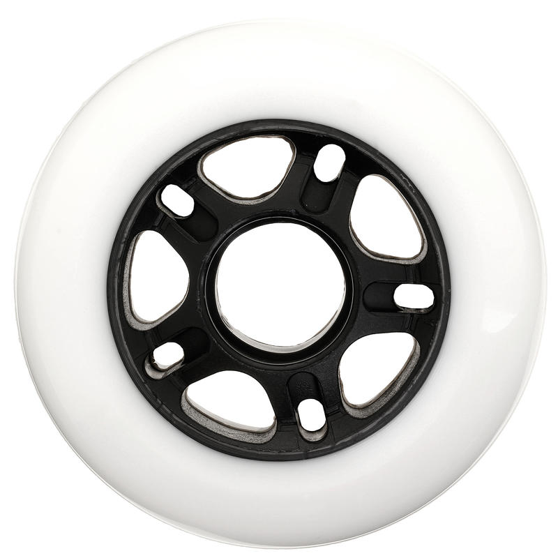 Fit Adult Fitness Inline Skating 80mm 80A Wheels 4-Pack - White