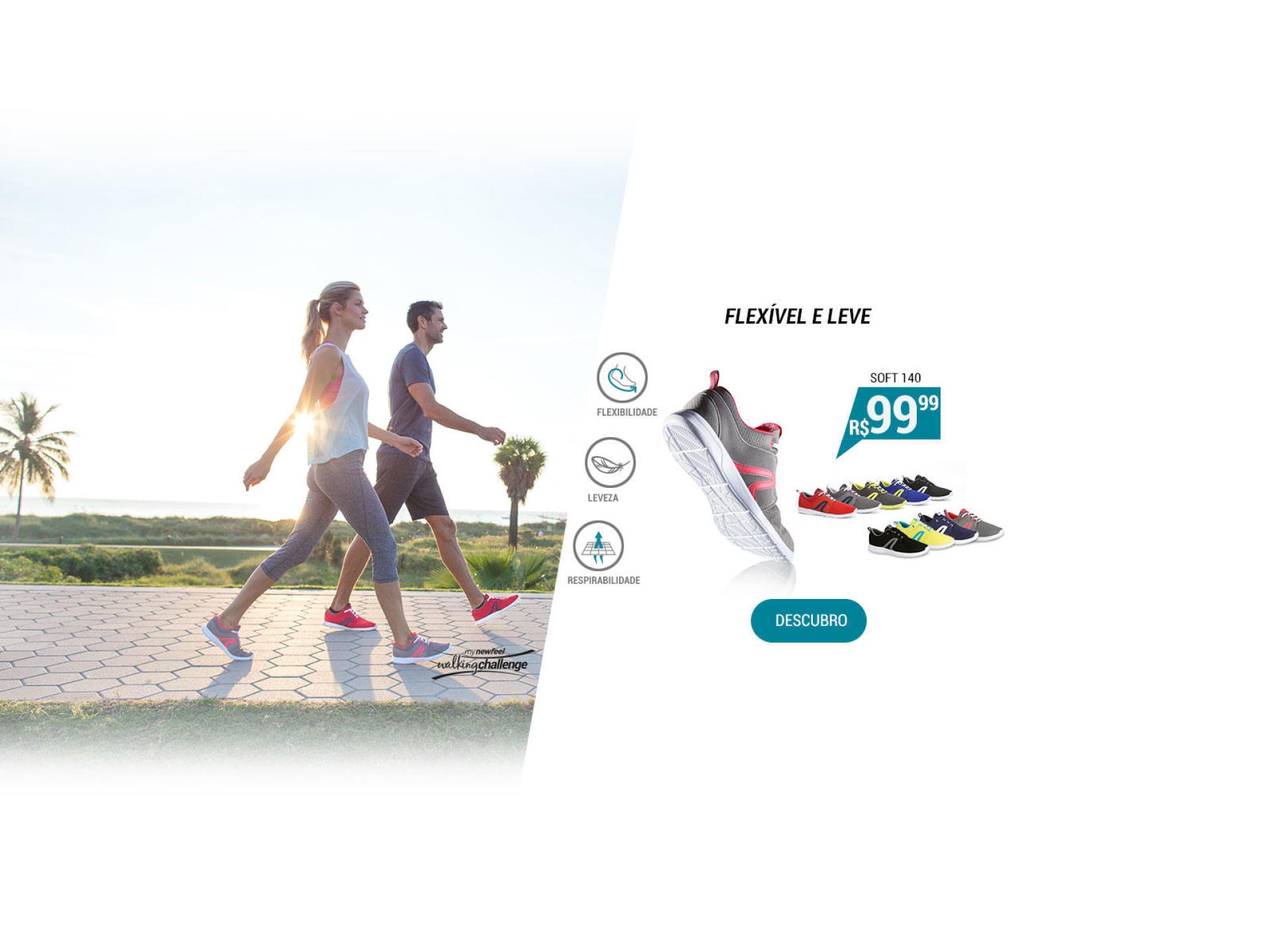 Tênis de caminhada ativa Soft 140 - Flexível e leve