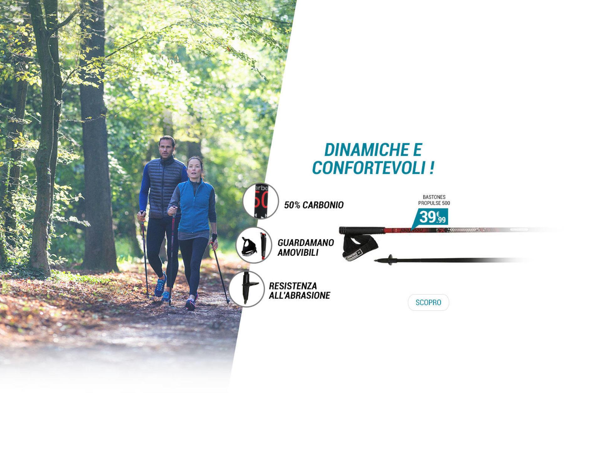 Bastoncini nordic walking Propulse Walk 500 - Dinamiche e confortevoli