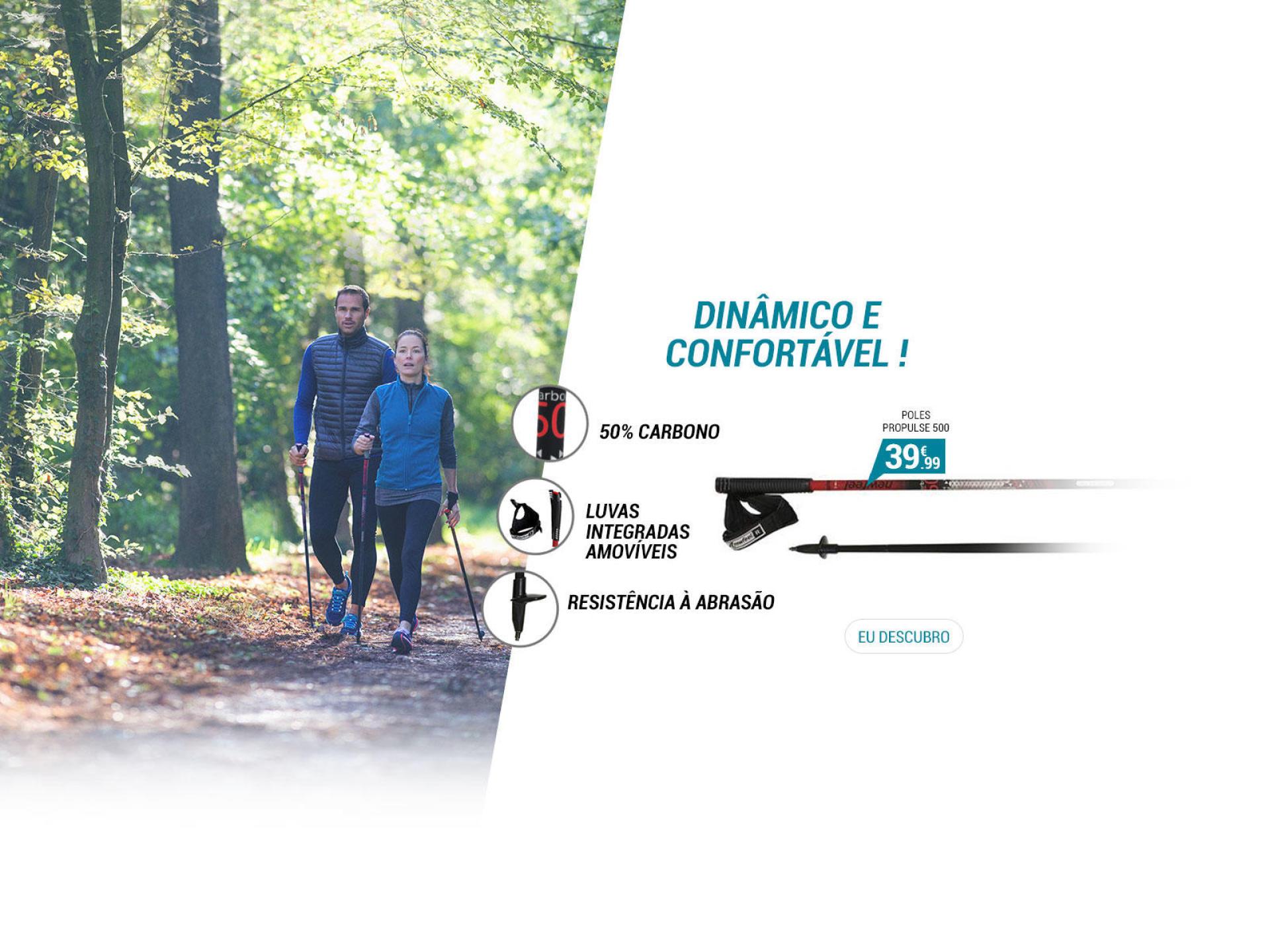 Bastões de Marcha Nórdica Propulse Walk 500 - Dinâmico e confortável