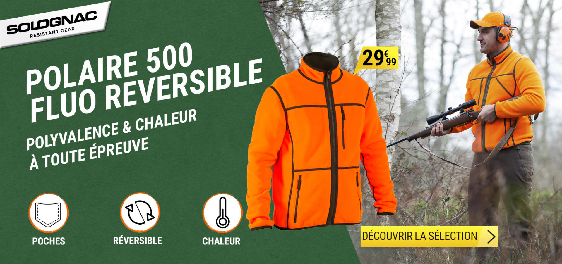 Découvrez notre sélection de vêtements chauds fluorescents pour chasser en battue au chaud et en toute sécurité.