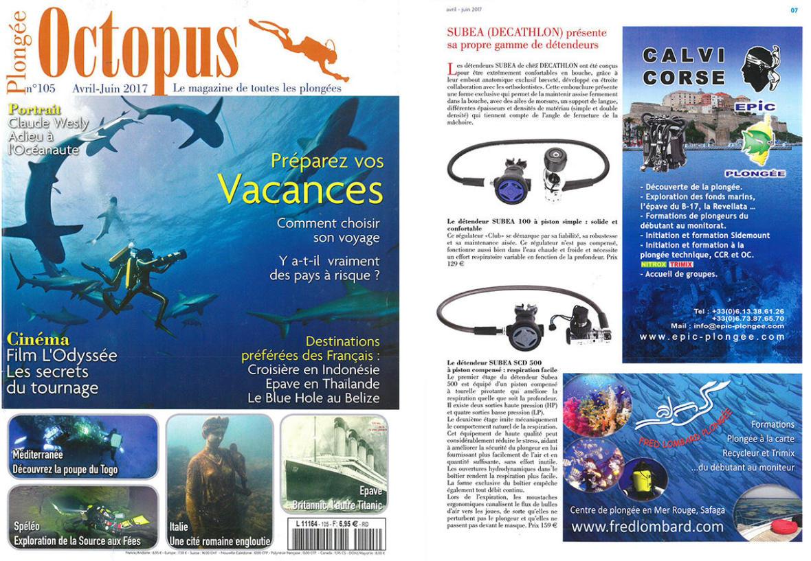 article magazine octopus détendeurs plongée bouteille subea