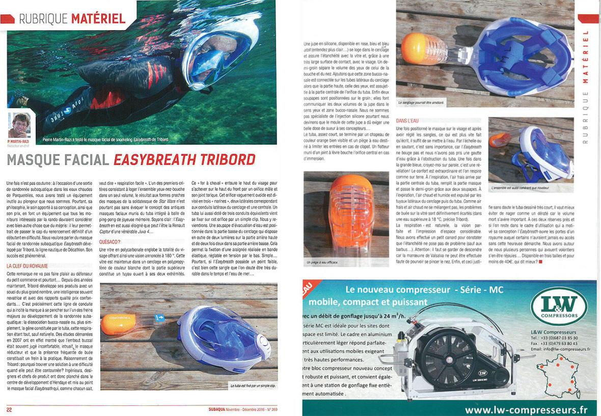 page article magazine subaqua test masque easybreath subea