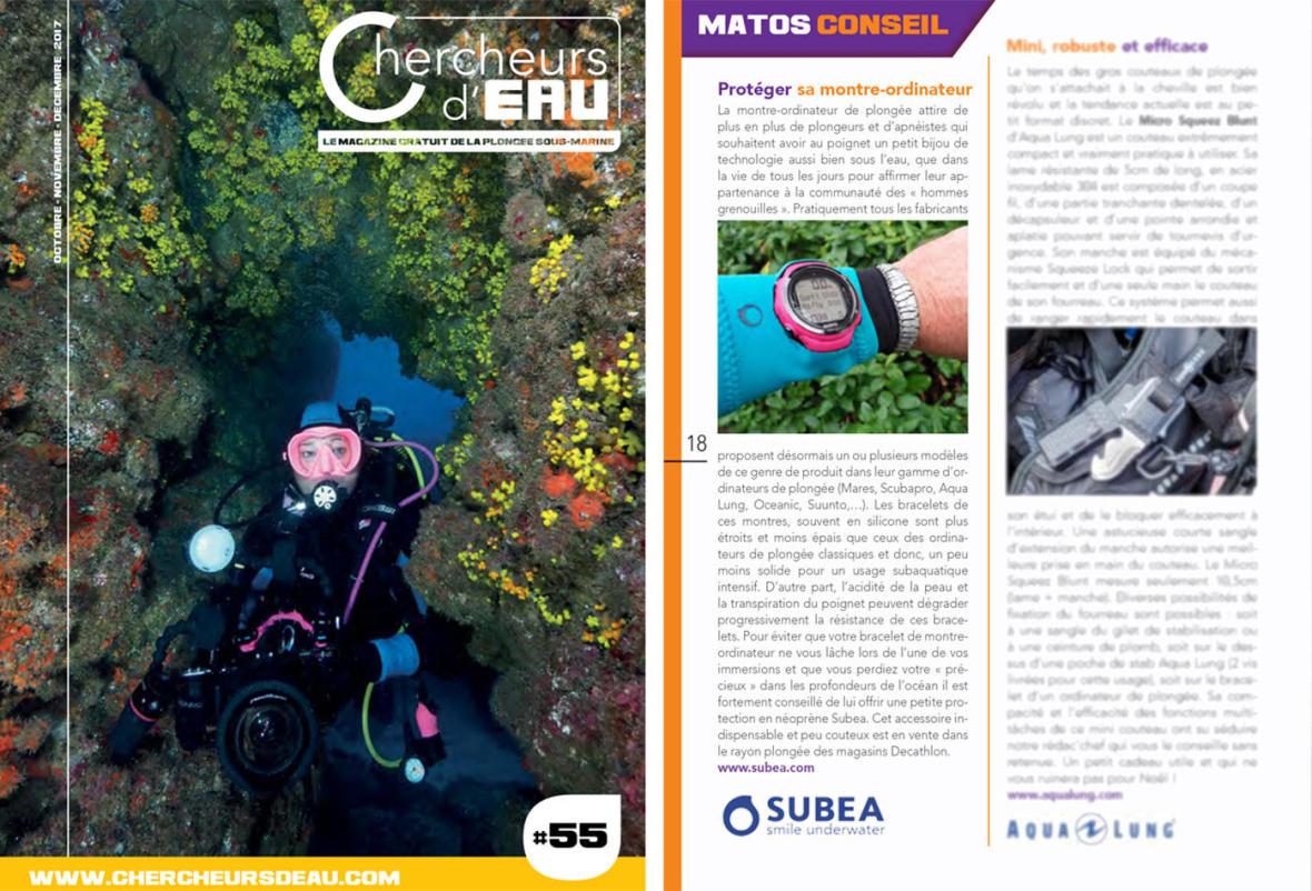 parution article magazine chercheurs d'eau manchon ordinateur plongée subea