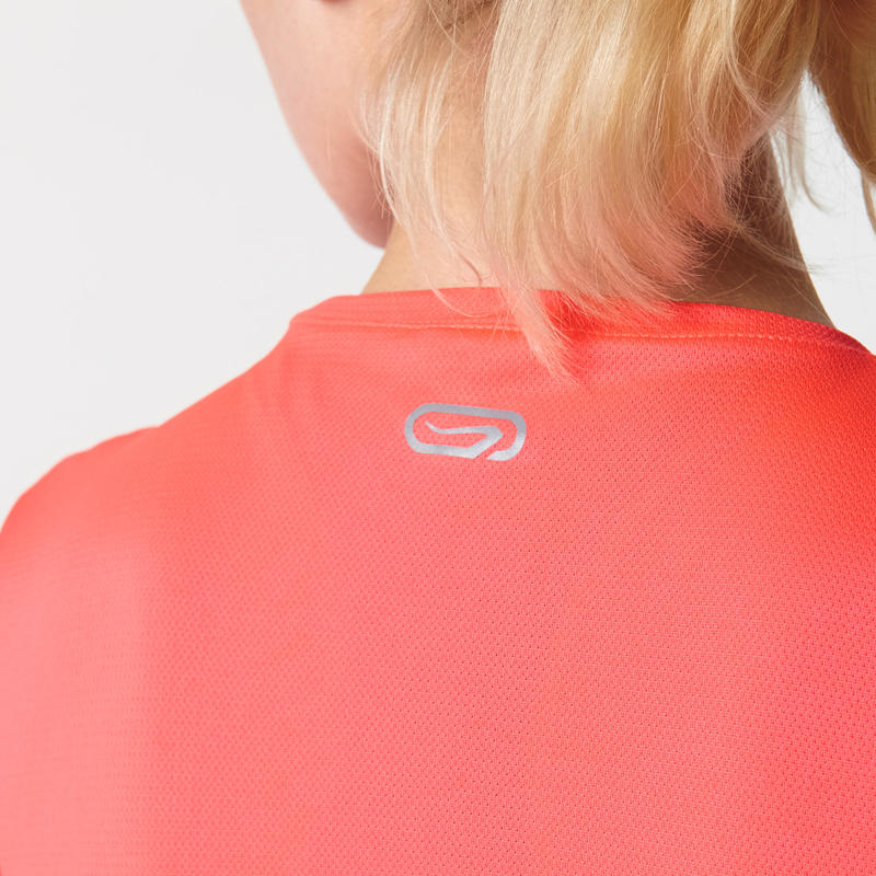 RUN DRY WOMEN'S T-SHIRT - FLUORESCENT CORAL