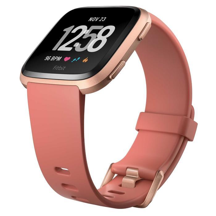 Set smartwatch met hartslagmeter aan de pols Versa perzik + grijs bandje