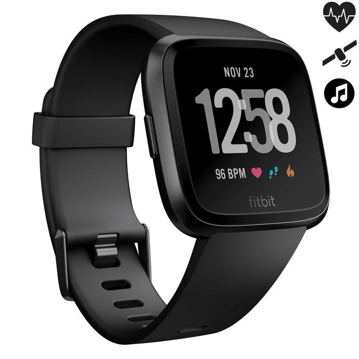 Smartwatch mit Pulsmesser am Handgelenk Versa schwarz + graues Armband