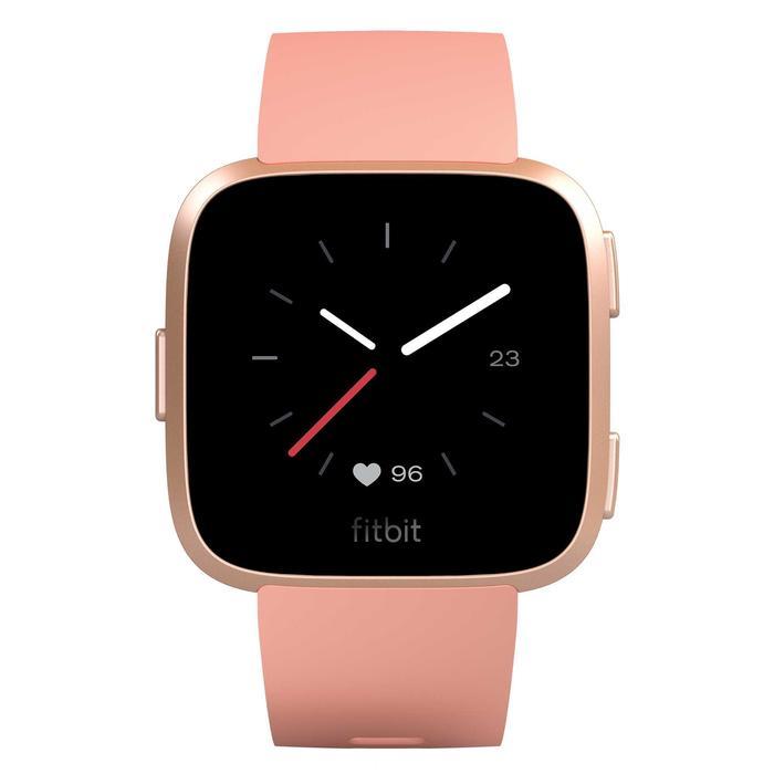 Versa pfirsich Smartwatch mit Pulsmesser am Handgelenk + graues Armband