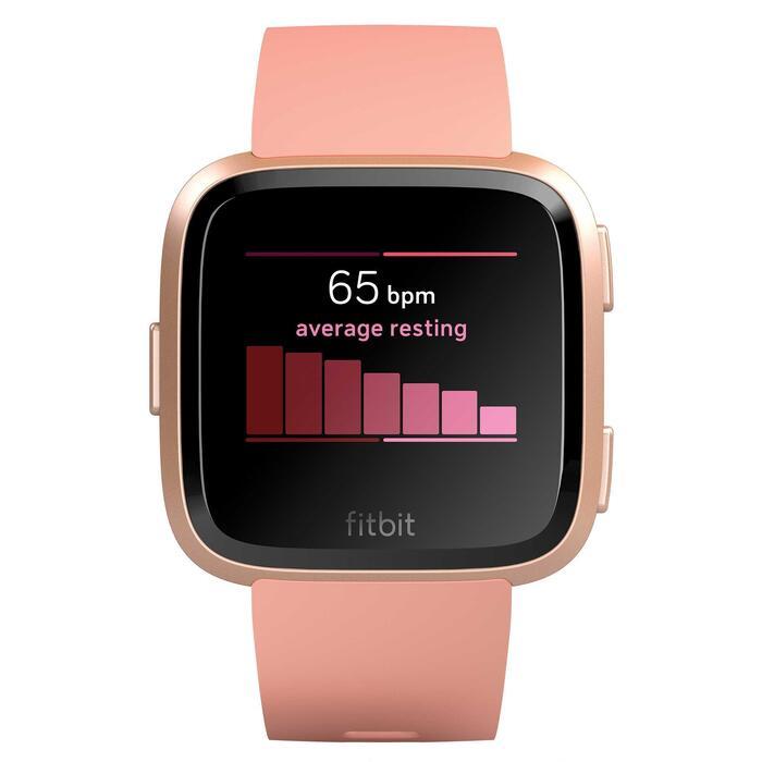 Reloj GPS Pulsómetro Muñeca Music Multideporte Fitbit Versa Salmón + Correa Gris