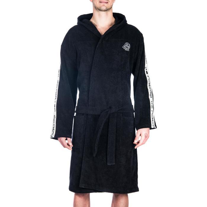 Bademantel 500 Wasserball Baumwolle mit Gürtel Taschen Kapuze Herren schwarz