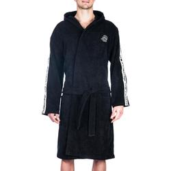 Bademantel 500 Wasserball dicke Baumwolle Gürtel Taschen Kapuze Herren schwarz