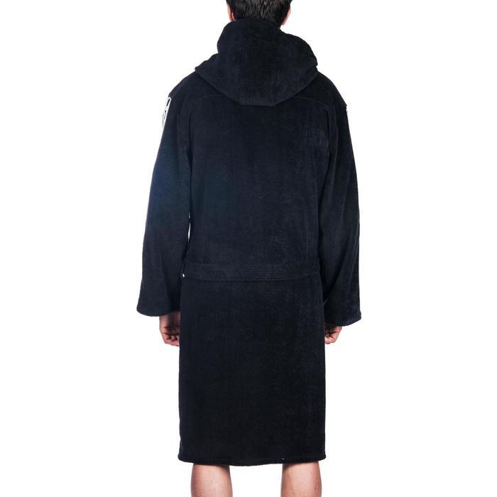 Badjas 500 waterpolo heren, dik zwart katoen met riem, zakken en kap