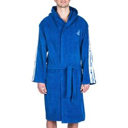 Albornoz 500 waterpolo hombre algodón grueso azul con cinturón bolsillos capucha