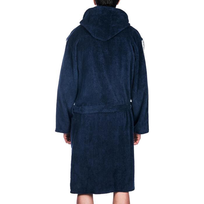 Albornoz 500 waterpolo hombre algodón grueso negro cinturón, bolsillos y capucha