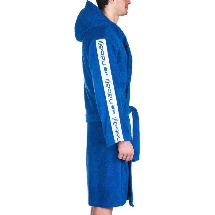 Badjas 500 waterpolo heren, dik blauw katoen met riem, zakken en kap