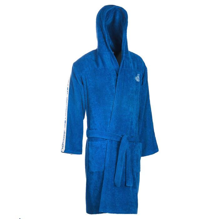 Bademantel 500 Wasserball dicke Baumwolle mit Gürtel Taschen Kapuze Herren blau