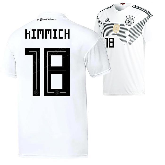 Flock Kimmch Nr.18 Home Kinder für weißes Deutschlandtrikot WM 2018